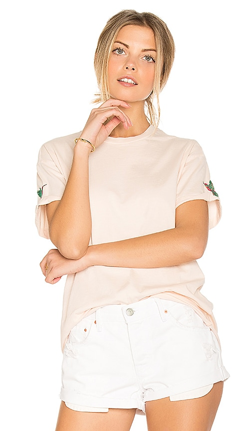 Sandrine Rose Embroidered Tee in Pink