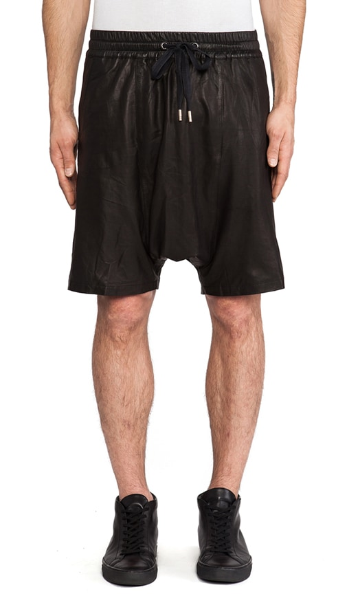 Leather Drop Crotch Sport Shorts