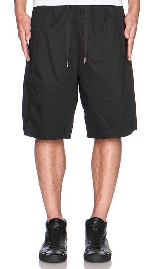 SKINGRAFT Cotton Satin Long Shorts in Black