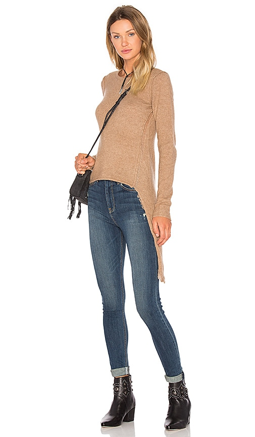 SOH Asymmetrical Crew Neck Sweater in Brown