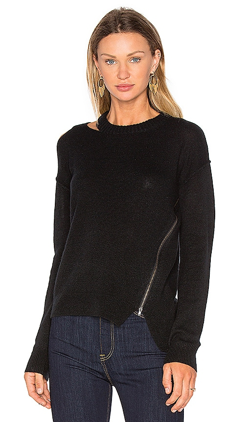 SOH Cut Out Zip Sweater in Black