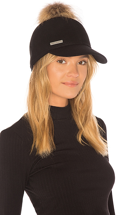 Soia & Kyo Marlow Cap With Asiatic Raccoon Fur in Black