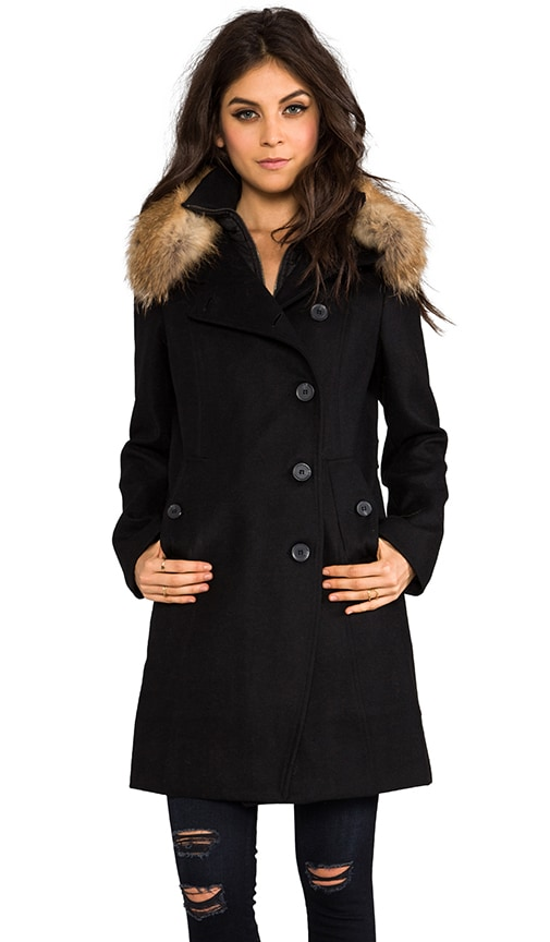 Reiko Removable Fur Trim Wool Coat