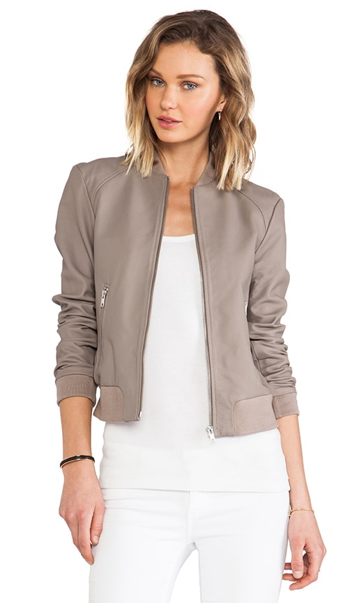 Nyla Leather Bomber Jacket