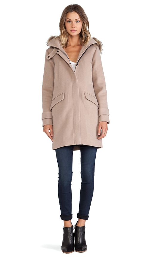 Annick Classic Wool Coat with Fur Trim