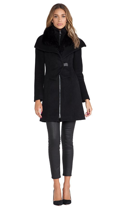 Soia & Kyo Fei Classic Wool Coat with Faux Fur collar in Black ...