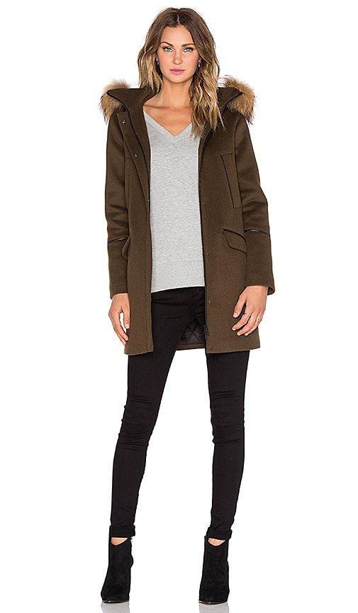Soia & Kyo Ariane Jacket with Raccoon Fur Trim in Olive