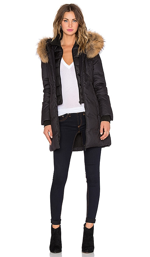 Soia & Kyo Chrissy Jacket with Asiatic Raccoon Fur Trimmed Hood in Black
