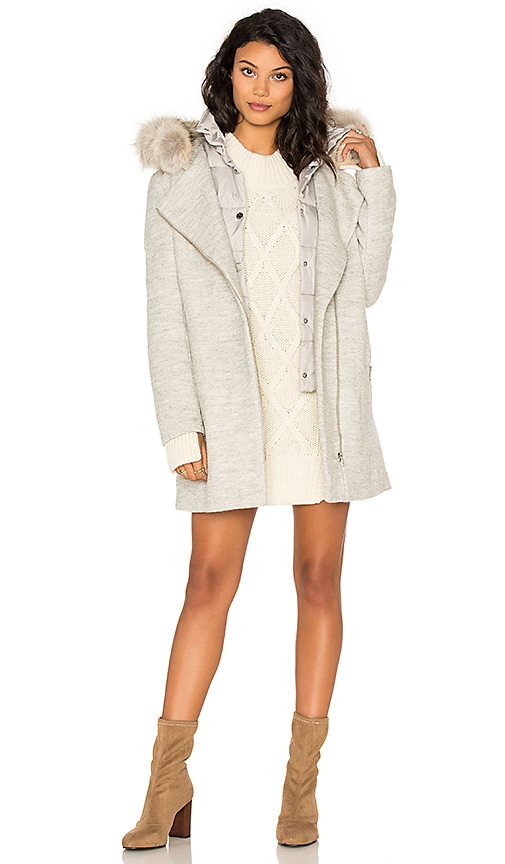 Soia & Kyo Rafaella Coyote Fur Trim Coat in Gray