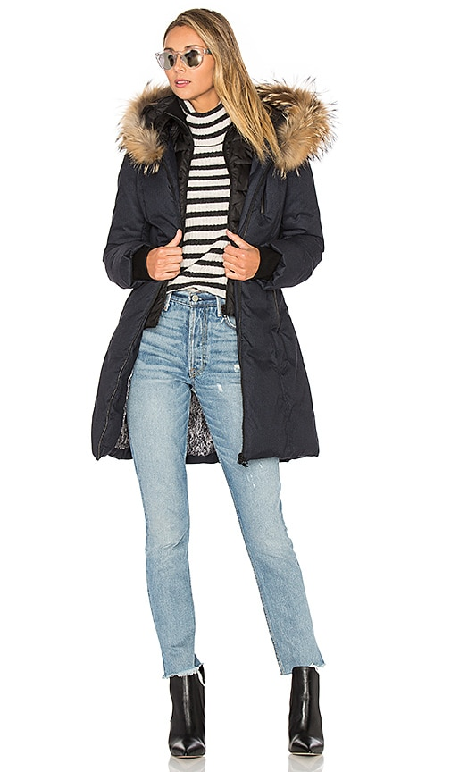 Soia & Kyo Chrissy Coat with Asiatic Raccoon Fur Trim in Navy