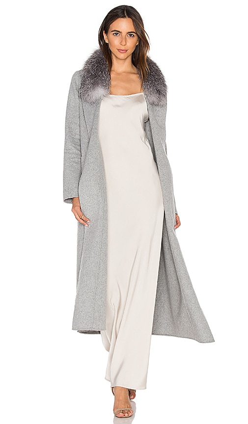 Soia & Kyo Daphne Coat with Silver Fox Fur Trim in Gray