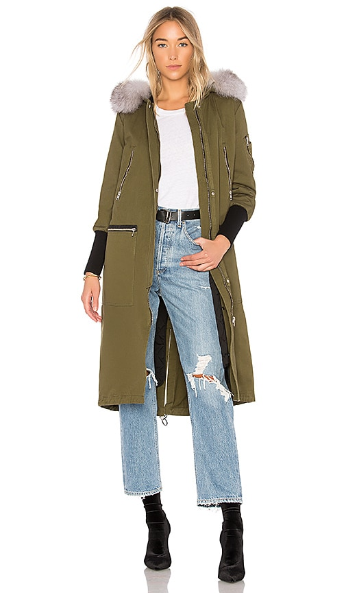 Soia & Kyo Reese Fur Trimmed Parka in Green