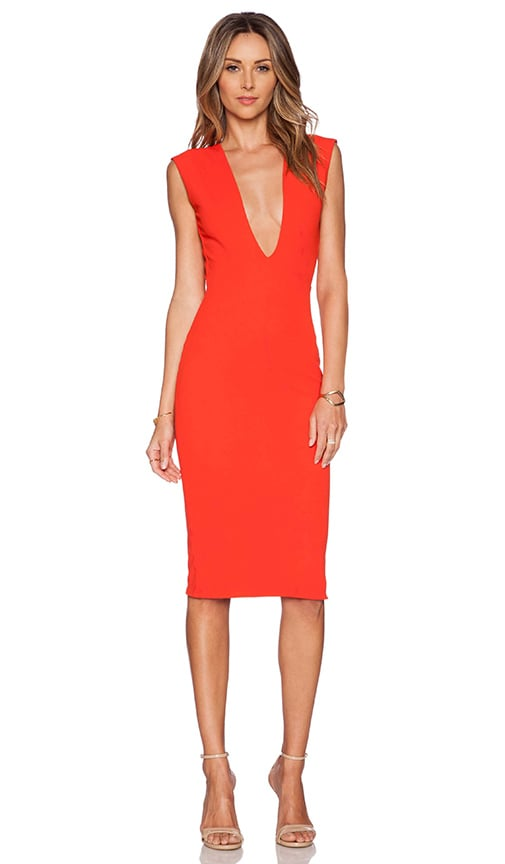 SOLACE London Grace Knee Length Dress in Red | REVOLVE