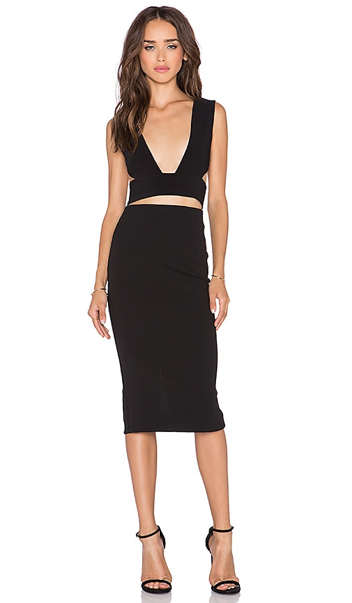 SOLACE London Knight Knee Length Dress in Black | REVOLVE