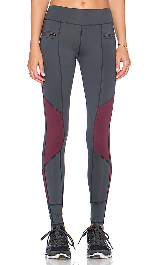 SOLOW Side Zip Running Pant in Black, Wine & Carbon