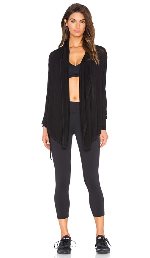SOLOW Soft Lounge Wrap Hoodie in Black