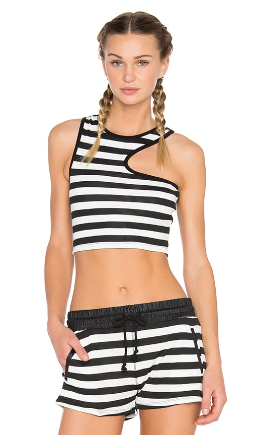 SOLOW Side Cut Out Crop Tank in Black & White