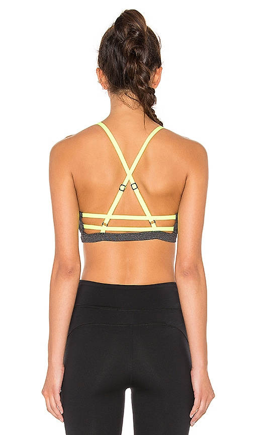SOLOW Invert Strapped Sports Bra in Charcoal & Chartreuse low-cost ...