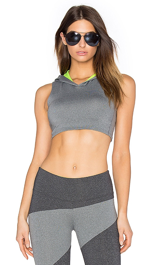 SOLOW Invert Hooded Sports Bra in Grey
