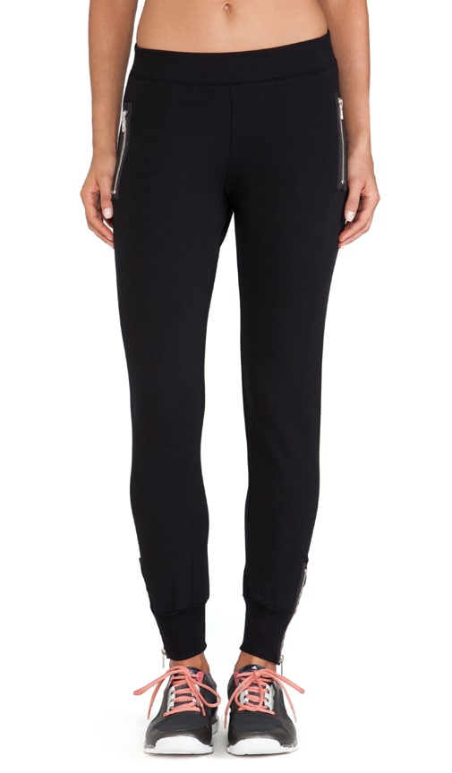 So Low Leather Zipper Detail Sweatpant