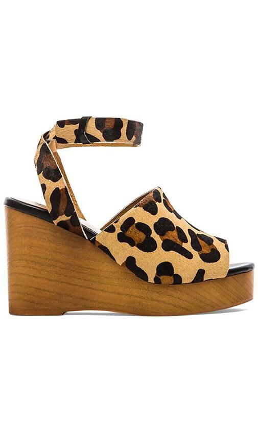 SOLES X SKIN Trey Cow Hair Wedge in Tan Leopard