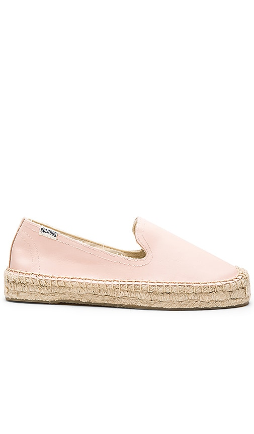 Soludos Platform Smoking Slipper Leather in Blush