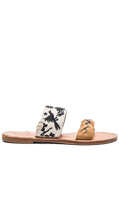 Soludos Otomi Embroidered Braided Slide Sandal in Tan