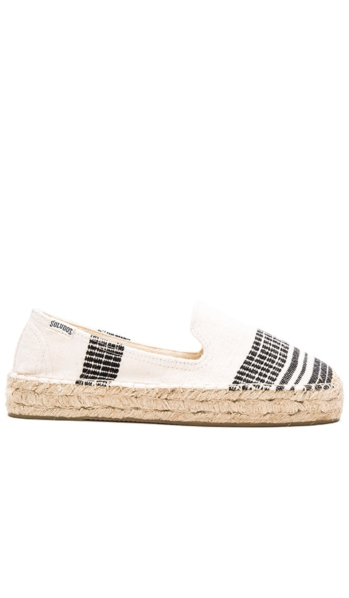Soludos x lemlem Muna Platform Smoking Slipper in Black & White