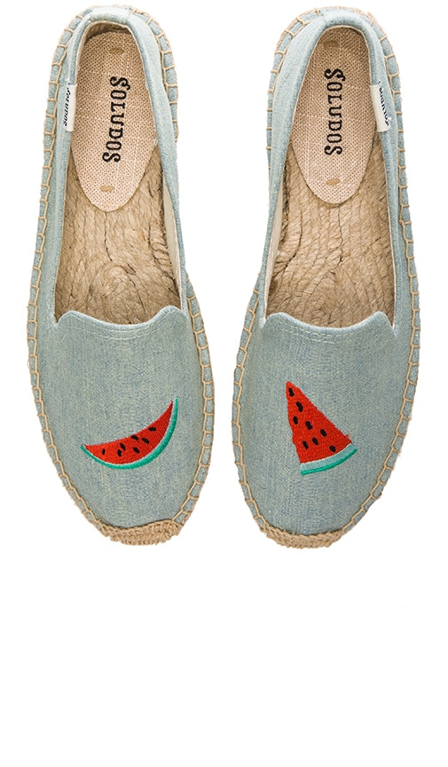 3a2c2907c94f Soludos Watermelon Embroidered Smoking Slipper in Chambray