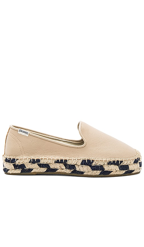 Soludos Platform Smoking Slipper in Beige
