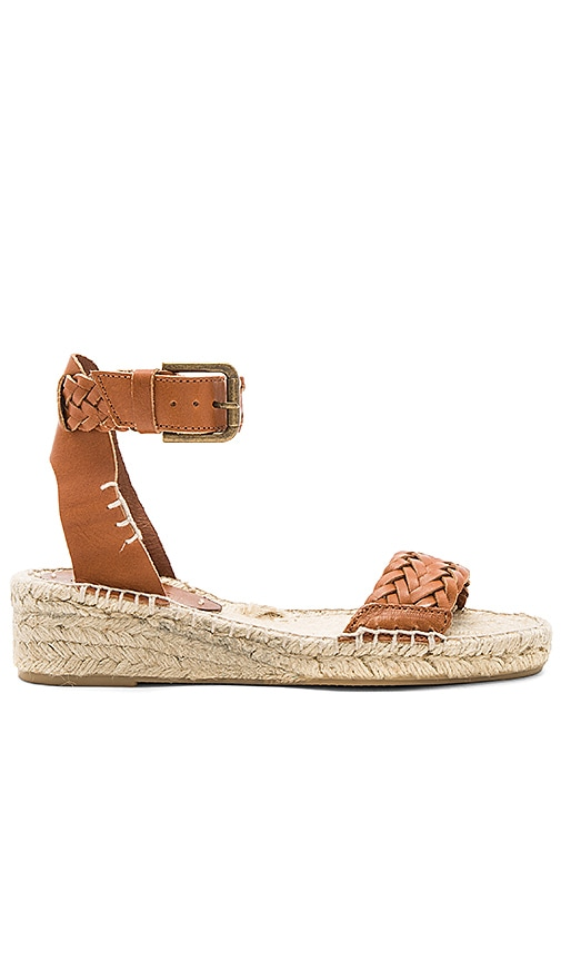 Soludos Woven Demi Wedge Sandal in Cognac