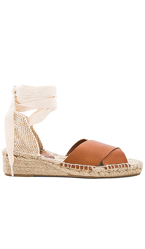 Soludos Criss Cross Demi Wedge Sandal in Brown
