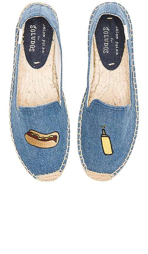 Soludos Embroidered Smoking Slipper in Blue