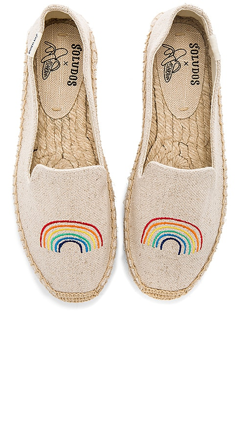 Soludos x Ash Kahn Rainbow Platform Smoking Slipper in Beige