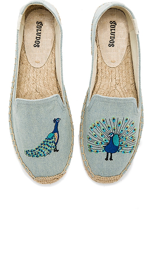Soludos Peacock Smoking Slipper in Baby Blue