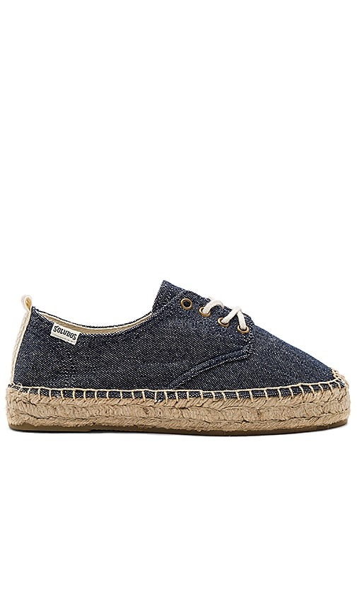 Soludos Oxford Lace Up Platform in Navy