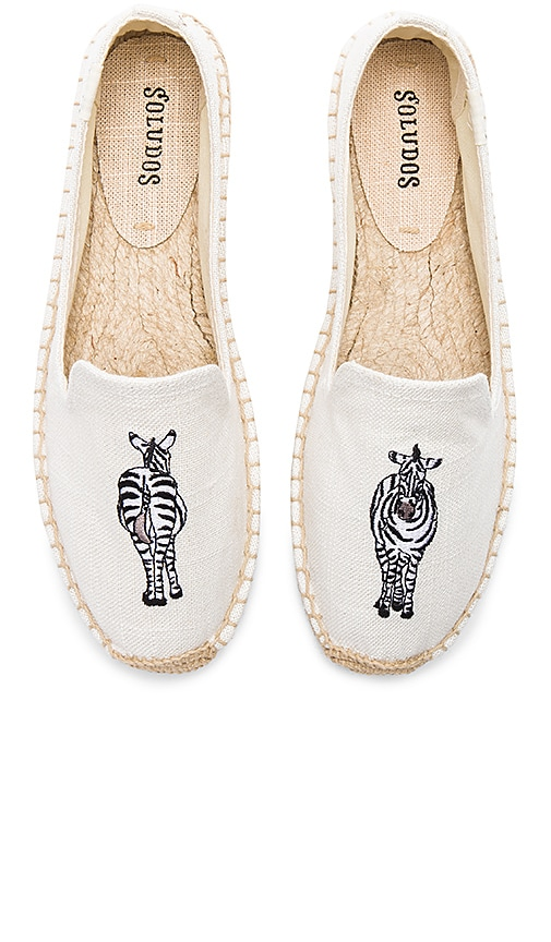 Soludos Zebra Smoking Slipper in Cream