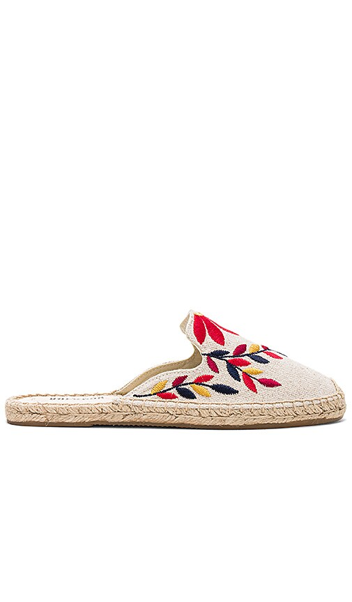 Soludos Embroidered Floral Mule in Beige