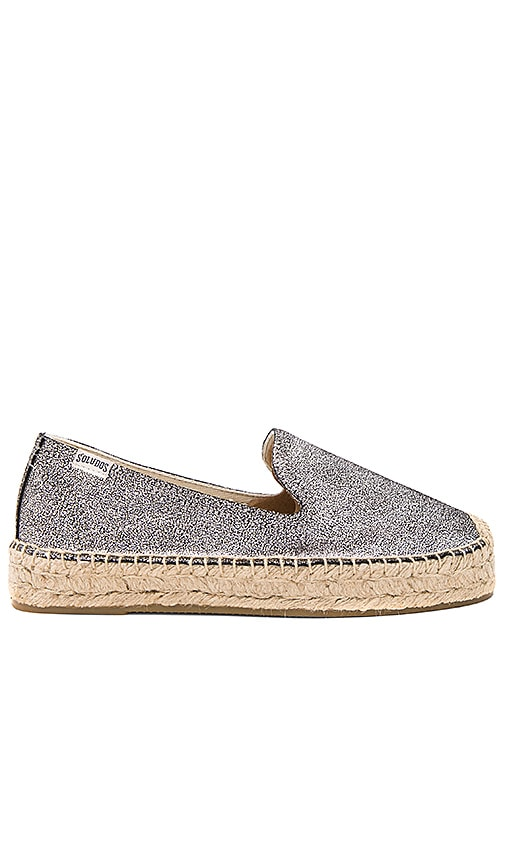 Soludos Metallic Smoking Slipper in Metallic Silver