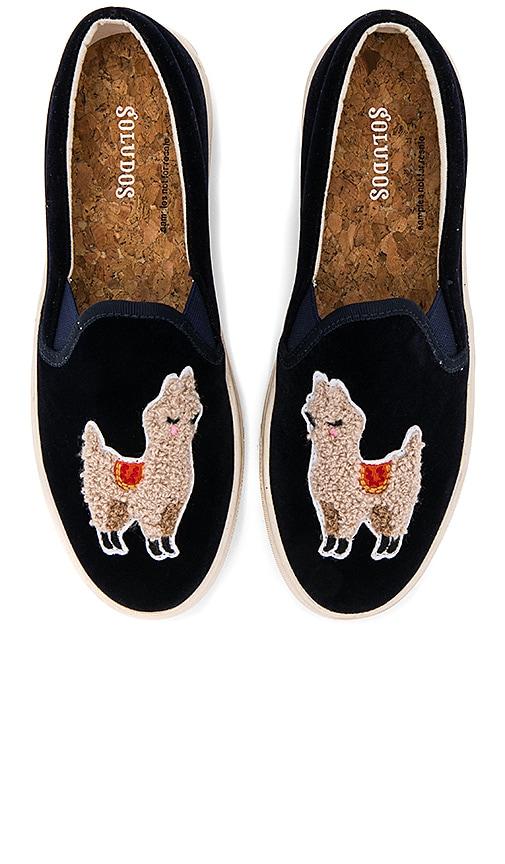 Soludos Velvet Llama Sneaker in Navy