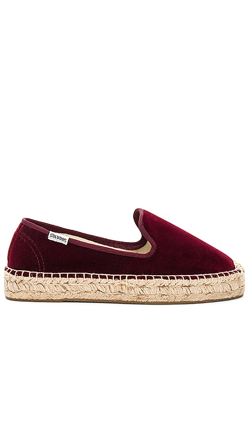 Soludos Velvet Smoking Slipper in Burgundy