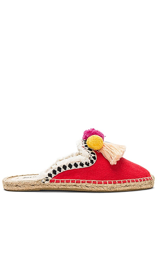Soludos Frayed-Edge Pom Pom Mule in Red