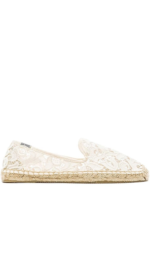 Soludos Lace Smoking Slipper in Ivory