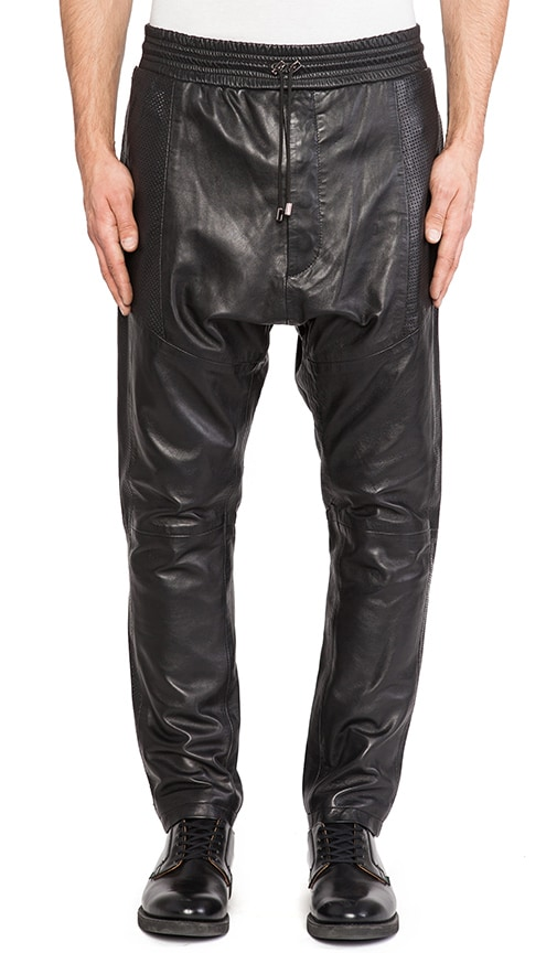Ziggy Drop Crotch Leather Sweatpant