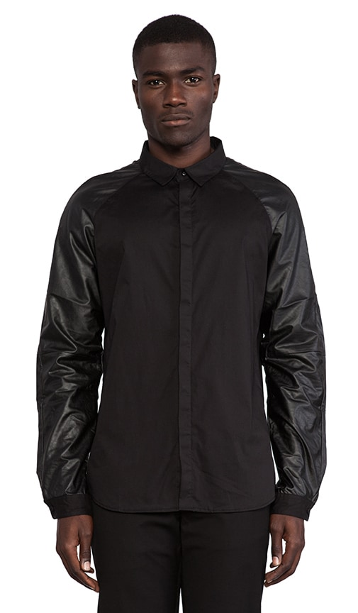 Damaged Goods Faux Leather Sleeved Shirt