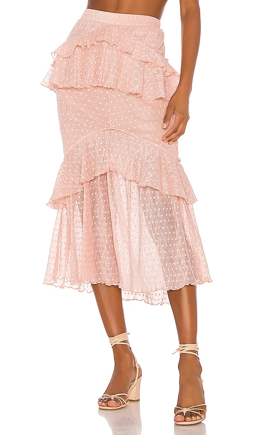 76c87bbf63 Song of Style Ada Midi Skirt in Pink Blush | REVOLVE