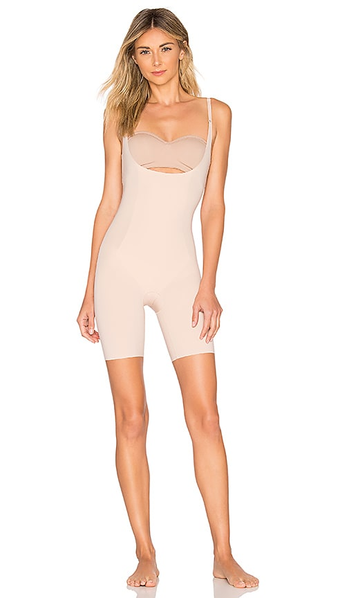 997d0723316f3 SPANX Thinstincts Open Bust Mid Thigh Bodysuit in Soft Nude