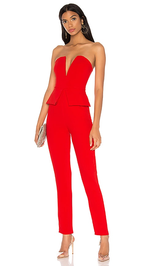 11b95be9373 superdown Pepper Strapless Jumpsuit in Red