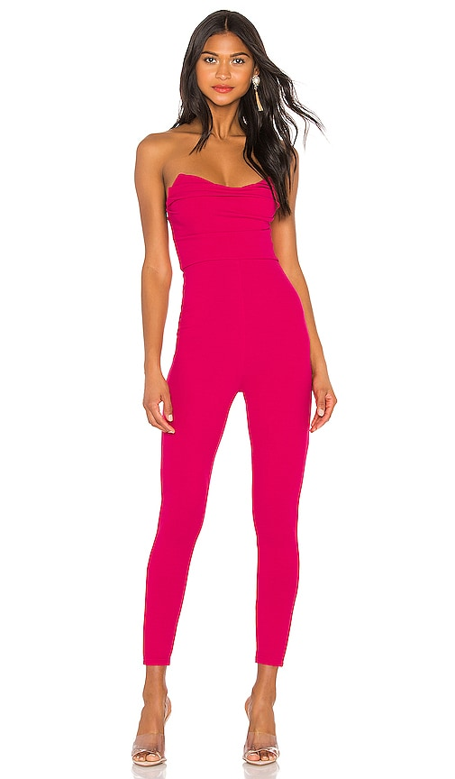 Superdown Clarice Hot Pink Strapless Jumpsuit