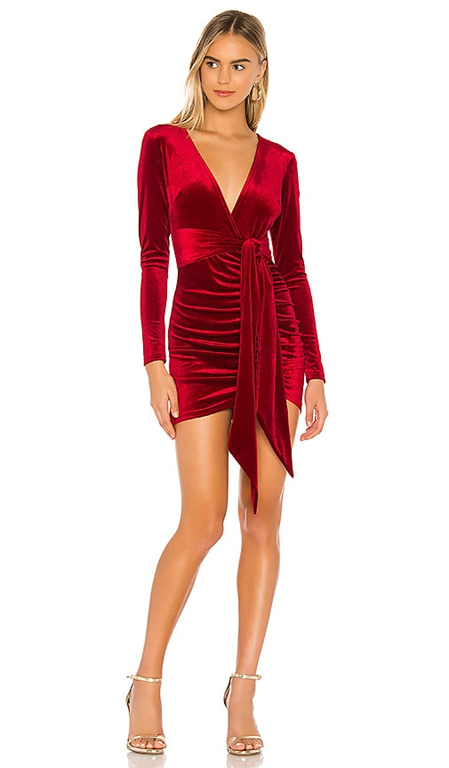 Superdown Jaylin Ruched Mini Dress In Red